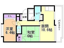 ドミ中ノ沢中央 3階2LDKの間取り