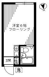 東急東横線 中目黒駅 徒歩11分の賃貸アパート 1階ワンルームの間取り