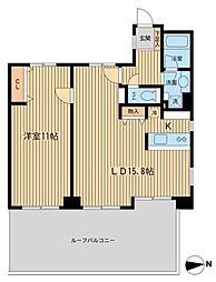 芝公園アパートメント 9階2LDKの間取り
