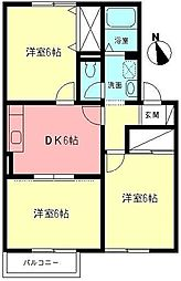 神奈川県小田原市栢山の賃貸アパートの間取り