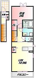 Osaka Metro今里筋線 清水駅 徒歩11分の賃貸アパート 2階1LDKの間取り