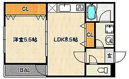 兵庫県神戸市兵庫区門口町4丁目の賃貸マンションの間取り