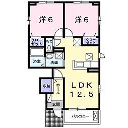 東京都八王子市大和田町1丁目の賃貸アパートの間取り