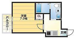 Star Residence黒門 8階1Kの間取り