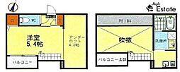 名古屋市営名城線 黒川駅 徒歩8分の賃貸アパート 1階1SKの間取り