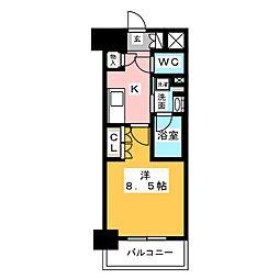 OKBアヴェニール菊井町 11階1Kの間取り