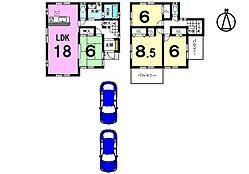土地面積82.33坪全居室6帖以上のゆとりある間取りです。モデルルームもございますのでお気軽にお問合せ下さい。