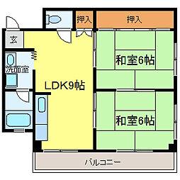 金剛東マンション[202号室]の間取り