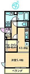 レジデンスYAEZAKI[203号室]の間取り
