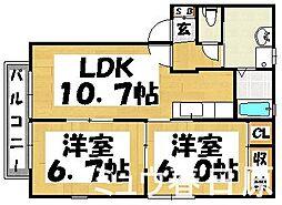 福岡県大野城市瓦田4丁目の賃貸アパートの間取り