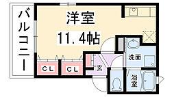 兵庫県伊丹市桜ケ丘2丁目の賃貸アパートの間取り