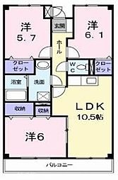 大阪府枚方市招提元町1丁目の賃貸マンションの間取り