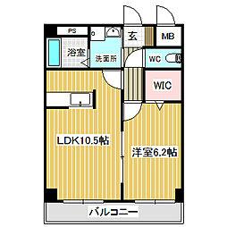 愛知県名古屋市中川区丸米町2丁目の賃貸マンションの間取り