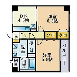 グランドシャルマン桜坂[2階]の間取り