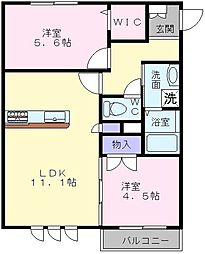 大阪府堺市西区上野芝向ヶ丘町6丁の賃貸アパートの間取り