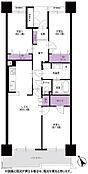 約77.47m2の広めの3LDKで、各居室に収納がありキッチン・廊下もゆとりのある広さです。