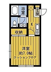 東京都大田区南馬込5丁目の賃貸アパートの間取り