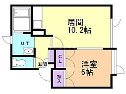北成ハウス A・B 1階1LDKの間取り