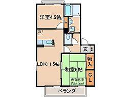 京都府京都市伏見区深草石橋町の賃貸アパートの間取り