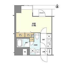 GENOVIA浅草橋II skygarden 7階1Kの間取り