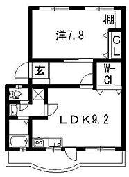 第1ますやマンション[206号室]の間取り