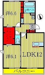 グランドゥール高柳 B[1階]の間取り