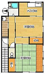 山岡荘(北)[2階]の間取り