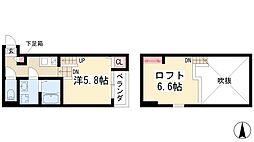 アルバーノ鶴舞Ricco 2階1Kの間取り