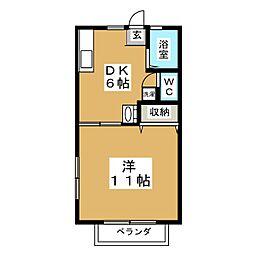 植木ハイツII[1階]の間取り