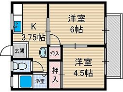 田畑マンションB棟[1号室号室]の間取り