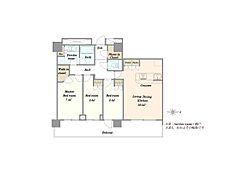 「間取り」3LDK(洋室1)7.4帖(洋室2)5.6帖(洋室3)5.2帖(LDK)16.5帖。22階部分日照、通風、眺望良好のお部屋です。