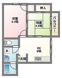大阪府四條畷市米崎町の賃貸アパートの間取り
