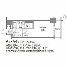 名古屋市営東山線 新栄町駅 徒歩4分の賃貸マンション 3階1Kの間取り