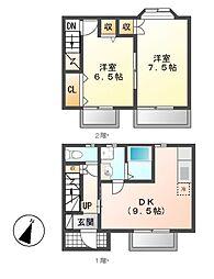 愛知県名古屋市守山区笹ヶ根3丁目の賃貸アパートの間取り