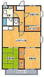 シャンテポワール弐番館[2階]の間取り