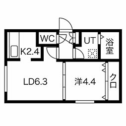 エルフ11 4階1LDKの間取り