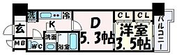JR東海道・山陽本線 三ノ宮駅 徒歩9分の賃貸マンション 9階1DKの間取り