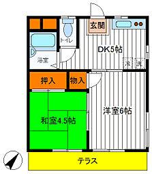 東京都立川市富士見町4丁目の賃貸アパートの間取り