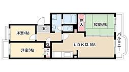愛知県名古屋市名東区一社3丁目の賃貸マンションの間取り