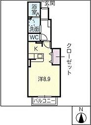 クロスマウンテン[1階]の間取り
