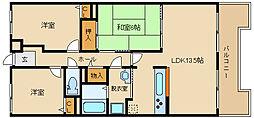 大阪府富田林市寿町2丁目の賃貸マンションの間取り