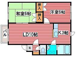 コーポ石倉5[4階]の間取り