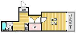 京阪本線 土居駅 徒歩2分の賃貸マンション 3階1Kの間取り