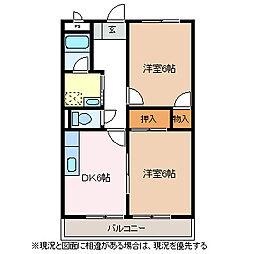 プリムローズ朝倉[2階]の間取り