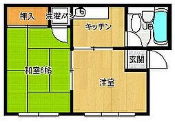 喜連西第二コーポ[2階]の間取り