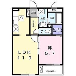 Osaka Metro谷町線 大日駅 徒歩22分の賃貸アパート 1階1LDKの間取り