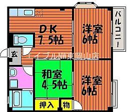 岡山県岡山市中区海吉丁目なしの賃貸アパートの間取り
