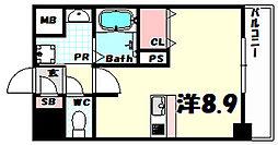 ファーストフィオーレ三宮イーストII 2階ワンルームの間取り