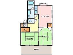 三重県松阪市岡本町の賃貸アパートの間取り