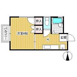 ハイツ前田(上野) 2階1Kの間取り